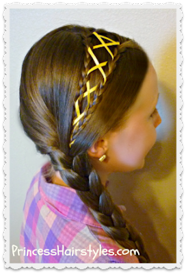 ribbon laced side braid hairstyle tutorial