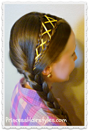 ribbon laced side braid hairstyle
