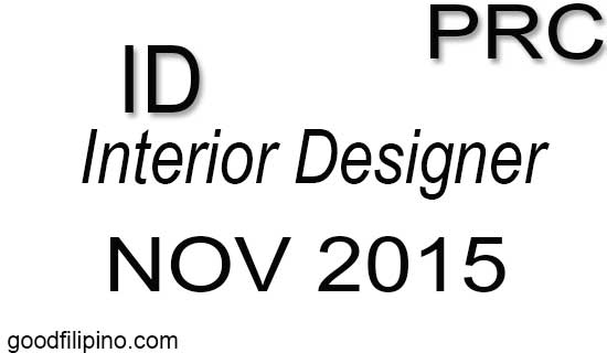 November 2015 Interior Designer PRC Board Exam Results