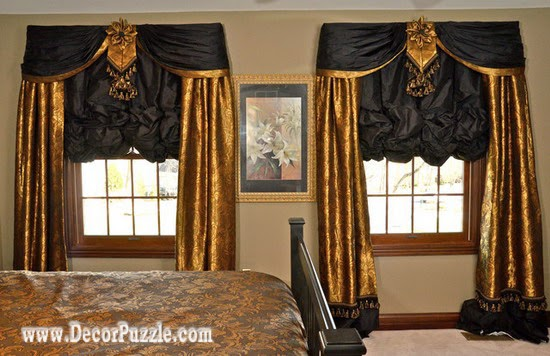 gold and black curtains designs, luxury classic curtains and drapes 2015 for bedroom