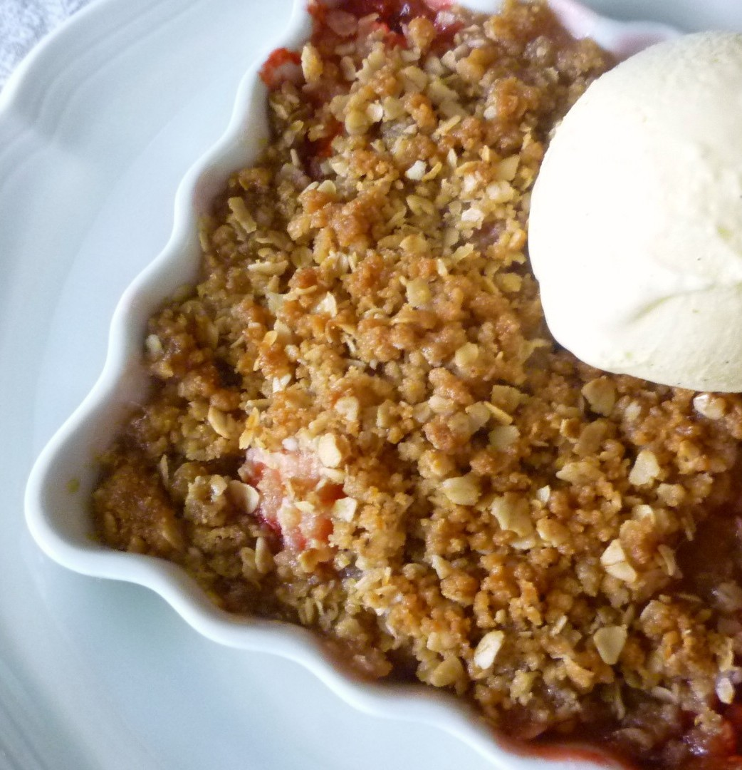 ... -Rhubarb Crisp with Orange-scented Honey & Vanilla Bean Ice Cream