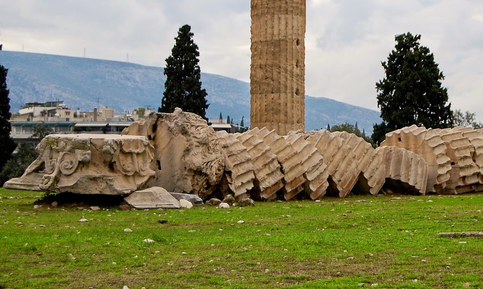 Toppled column drums at the Temple of Olympian Zeus