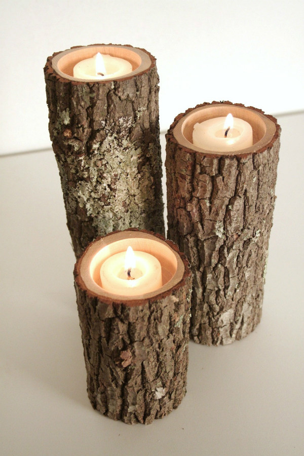 Rustic Wood Candle Holders Spicytec