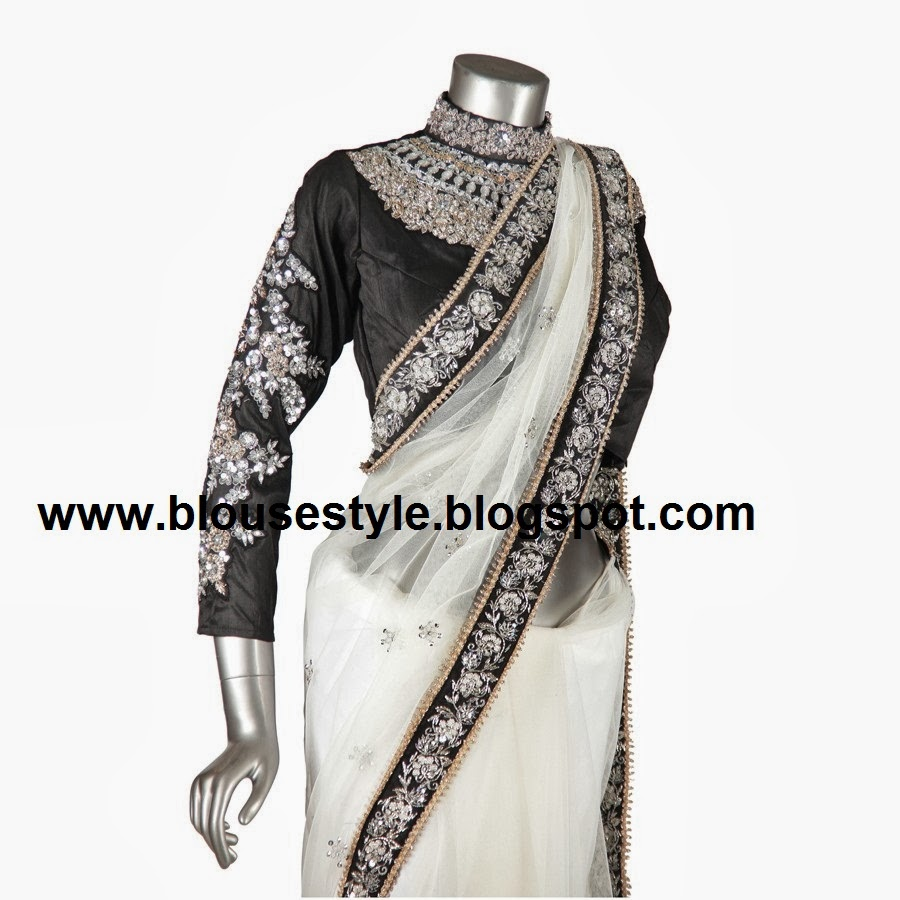 black colour embroidery full sleeve with high neck blouse