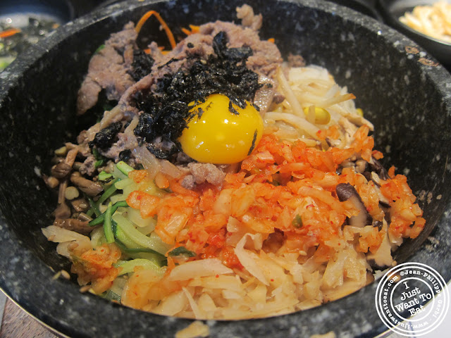 Image of Kimchi and bulgogi bibimbap at Miss Korea BBQ in Koreatown NYC, New York