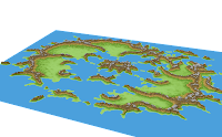 Great Caldera, Calidar, 3D view of eroded height map, Stereographic Projection