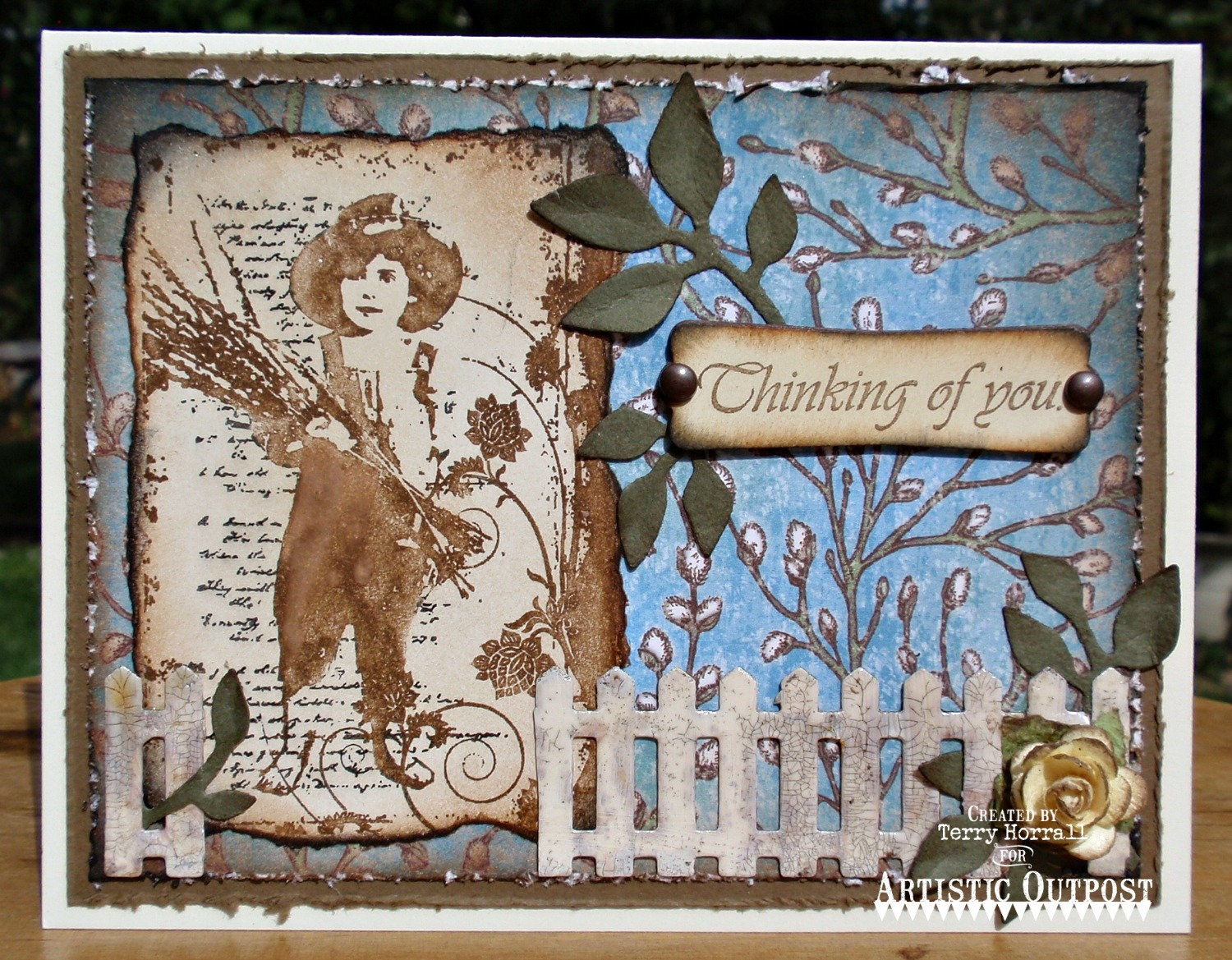 Stamps - Artistic Outpost Bluebird, Our Daily Bread Designs Custom Fence Die, Our Daily Bread Designs Blooming Garden Paper Collection