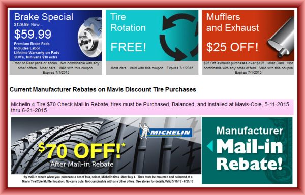 Discount tire deals coupons