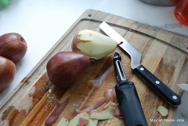peeling, halving and coring pears for poaching
