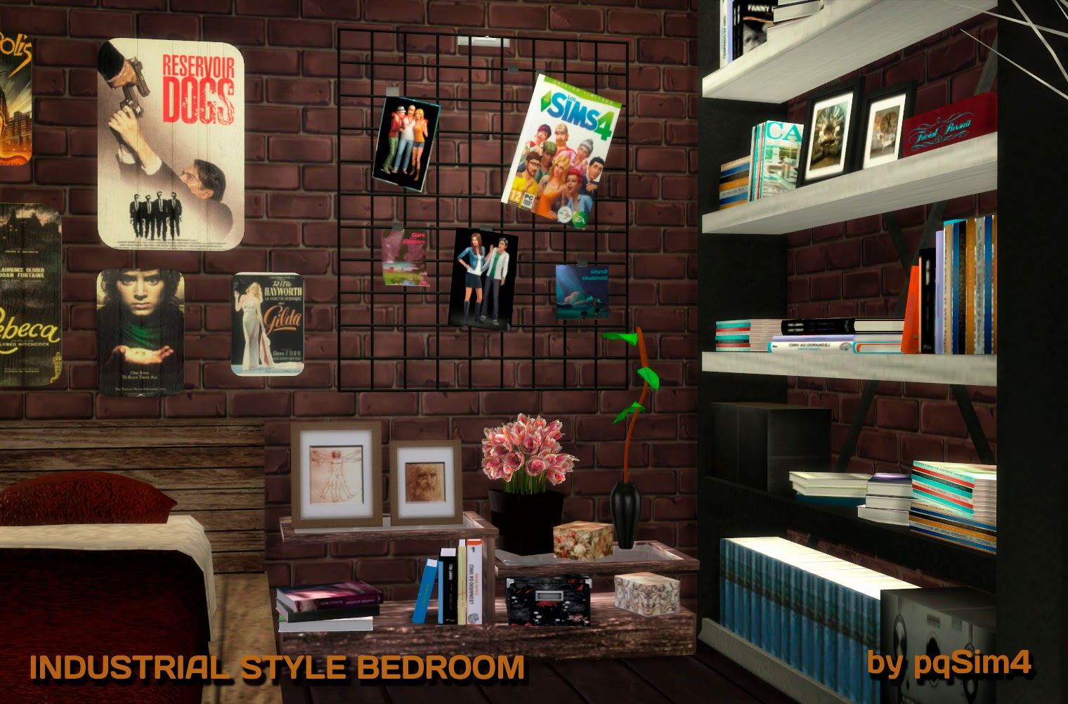 Sims 4 industrial style bedroom for Dormitorio sims 4