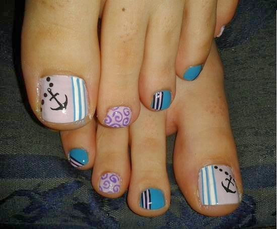 Anchor Toe Nail Designs