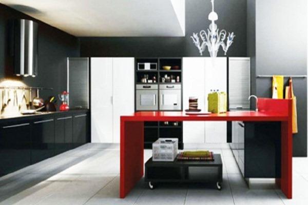 Black and white kitchen designs for Red black white kitchen ideas