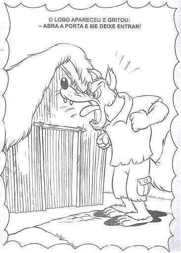 Páginas para colorir Os três porquinhos O Lobo mau  - imagens para colorir dos tres porquinhos