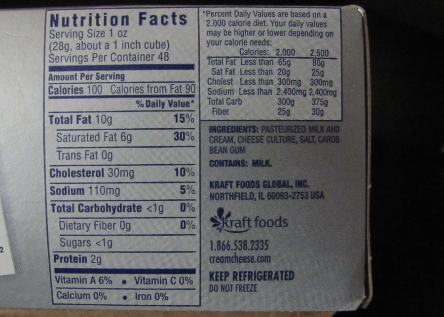 Whipped Cream Cheese Label