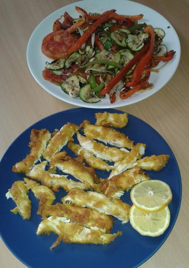 Pollo al limón con verduras a la plancha y arroz basmati