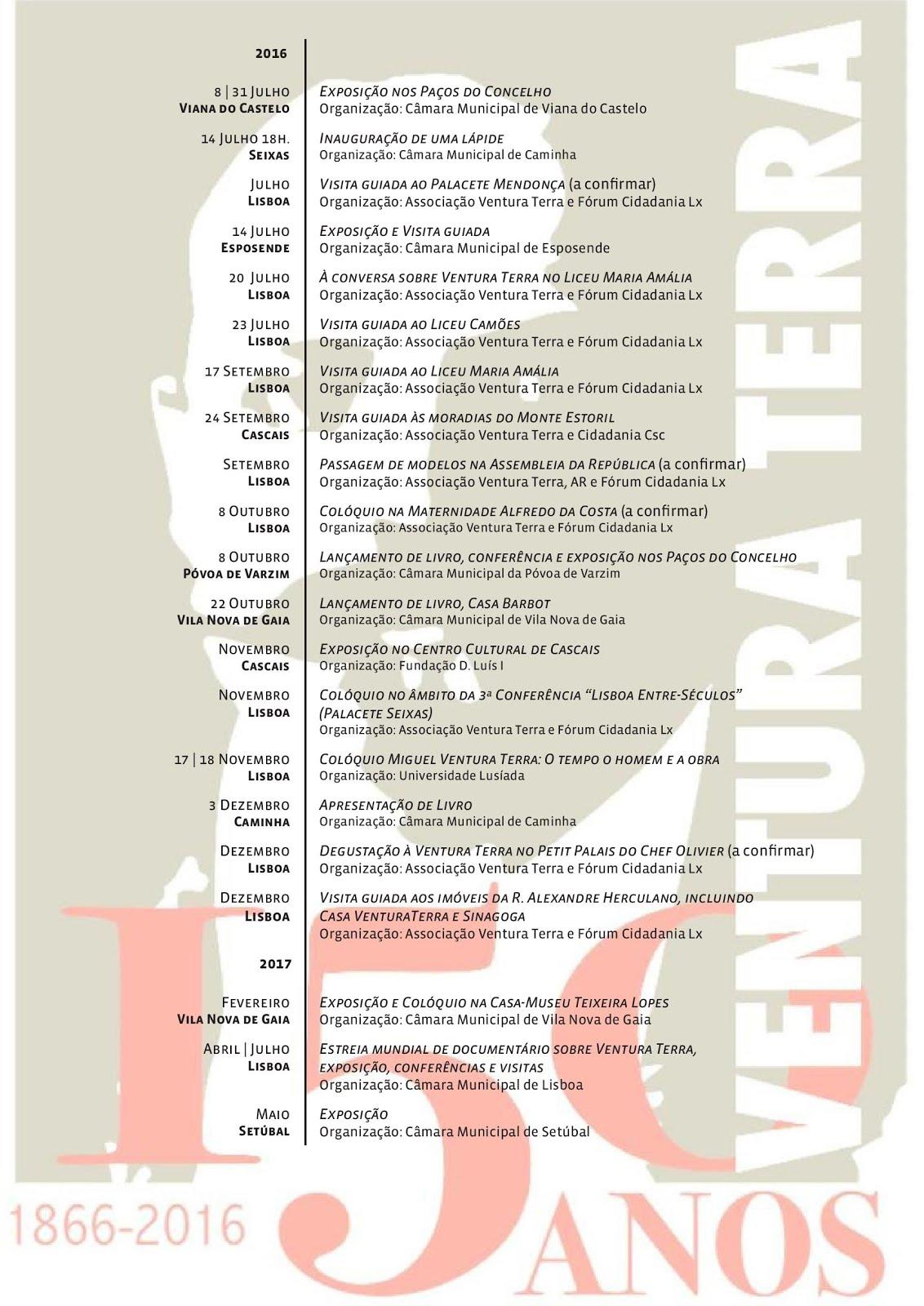 Programa das Comemorações do Sesquicentenário de Ventura Terra: