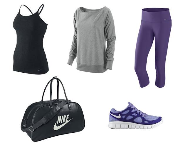 Collage ropa para ir al gimnasio de Nike en color morado, negro y gris.