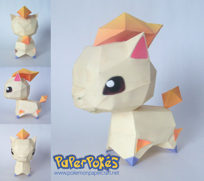 Paperpok s pok mon papercraft ponyta chibi for Cute papercraft templates