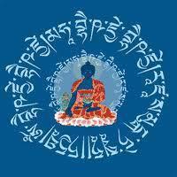 Guru Budha da Medicina envolto pelo seu mantra
