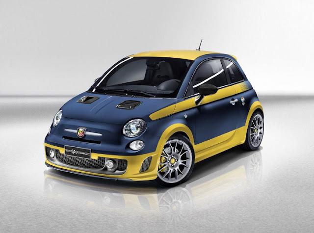 """Abarth 695 Fuori Serie con livera """"Olio Fiat"""" giallo-blu"""