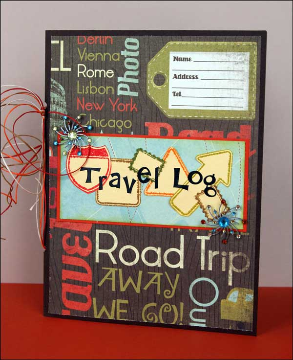 next up is a cute travel log i created this 6x8 mini album using cardstock and lots of yummies from this collection i stamped all the signs arrow