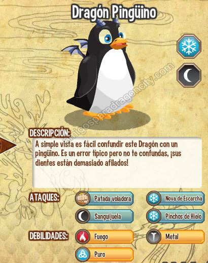 imagen de las caracteristicas del dragon pinguino