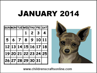 Crafts for Children: Dog puppy Calendar 2014 January for children kids