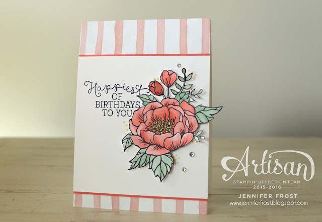 Stampin' Up! Watermelon Wonder Birthday Blooms card by Jennifer Frost featuring Birthday Bouquet designer series paper