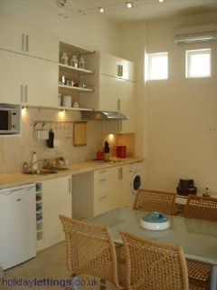 Kitchen, apartment in Rhodes, Greece.  My first experience with one sink dish-washing.