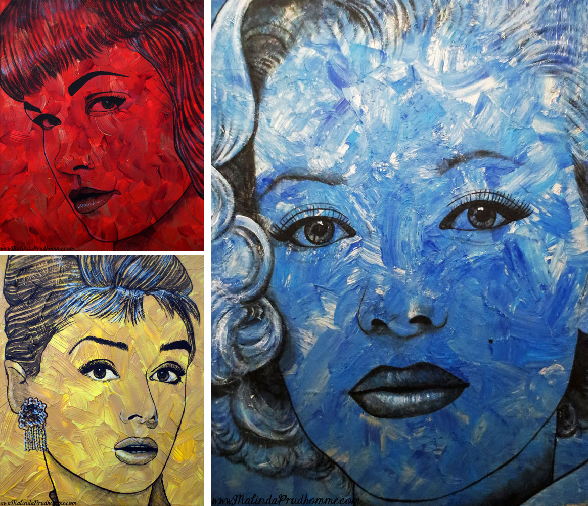 portrait artist, malinda prudhomme, pop art, vintage pop beauties, marilyn monroe, marilyn monroe art, bettie page, bettie page art, audrey hepburn, audrey hepburn art, painting, original artwork, original paintings