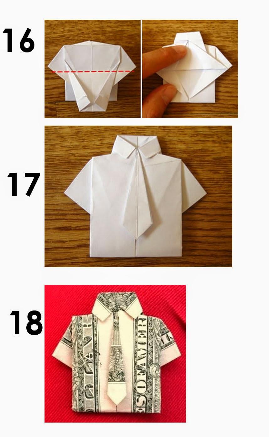 Оригами из денег. Схема рубашка из купюры