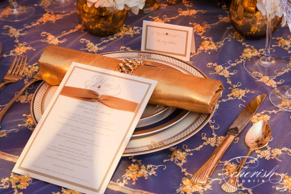 couture reception menu, gold & ivory, rhinestones