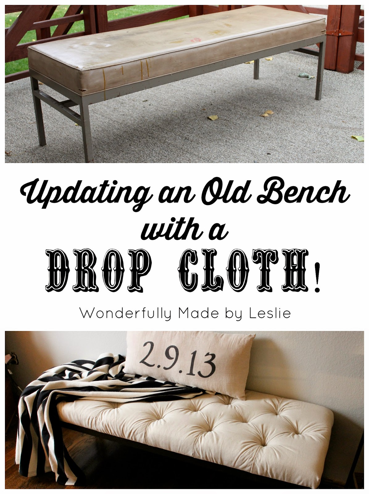 DIY Tufted Bench From Drop Cloth