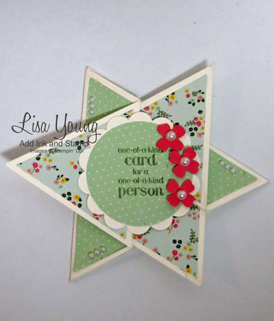 Star Fold Card made with Stampin' Up! products. The card fits in a note sized envelope and  opens up so it can be signed. Link to tutorial is on the blog post. Made by Lisa Young, Add Ink and Stamp
