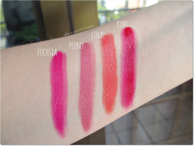 MELTED de TOO FACED - Swatches - Fuchsia - Peony - Coral - Ruby