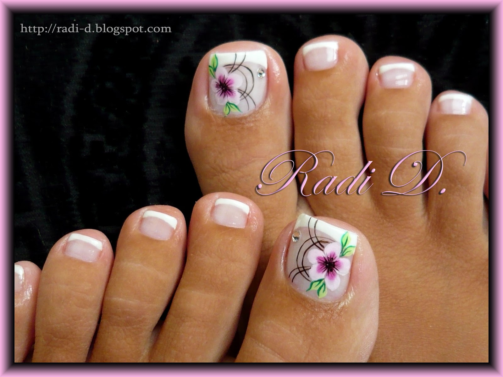 It`s all about nails: French Toes with One Stroke Flower