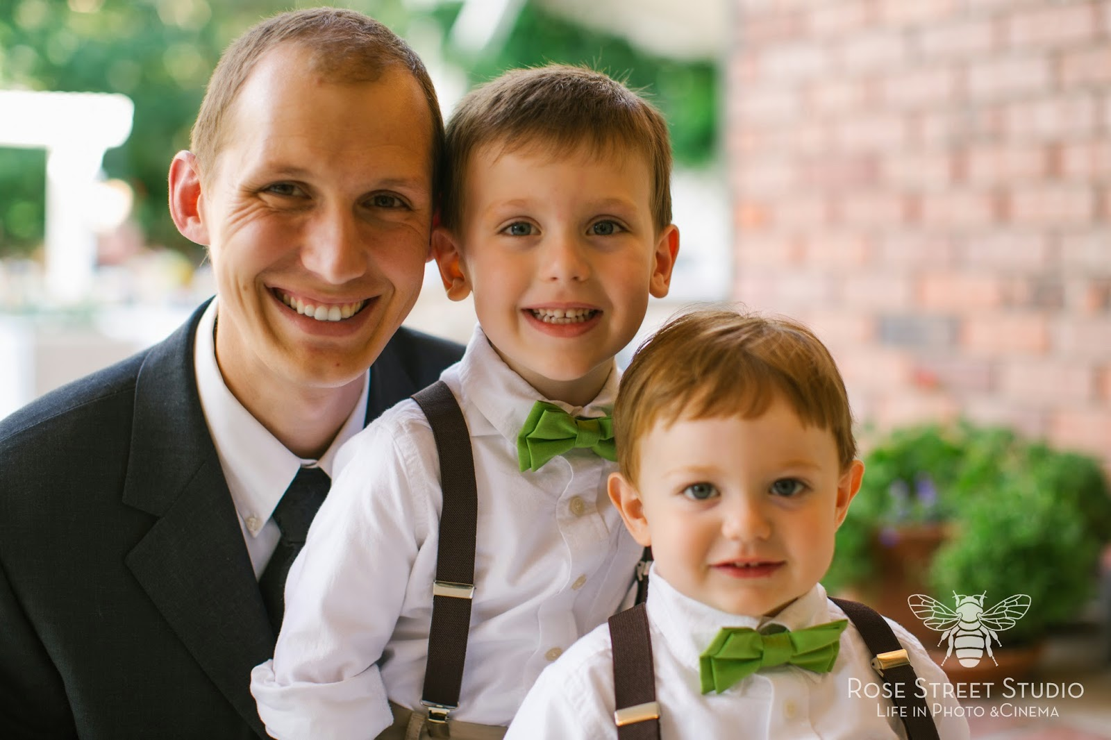 Adorable ring bearers in suspenders and bow ties l Rose Street Studio l Take the Cake Event Planning