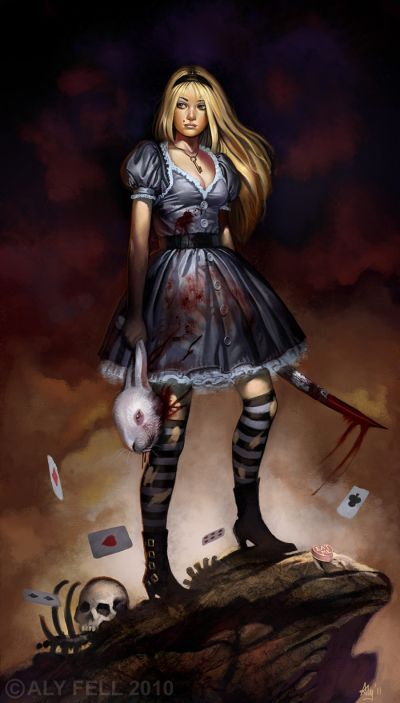 aly fell ilustrações mulheres sensuais fantasia sombria Alice malvada