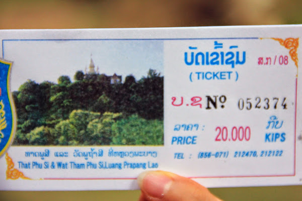Entrance ticket to That Phu Si and Wat Tham Phu Si