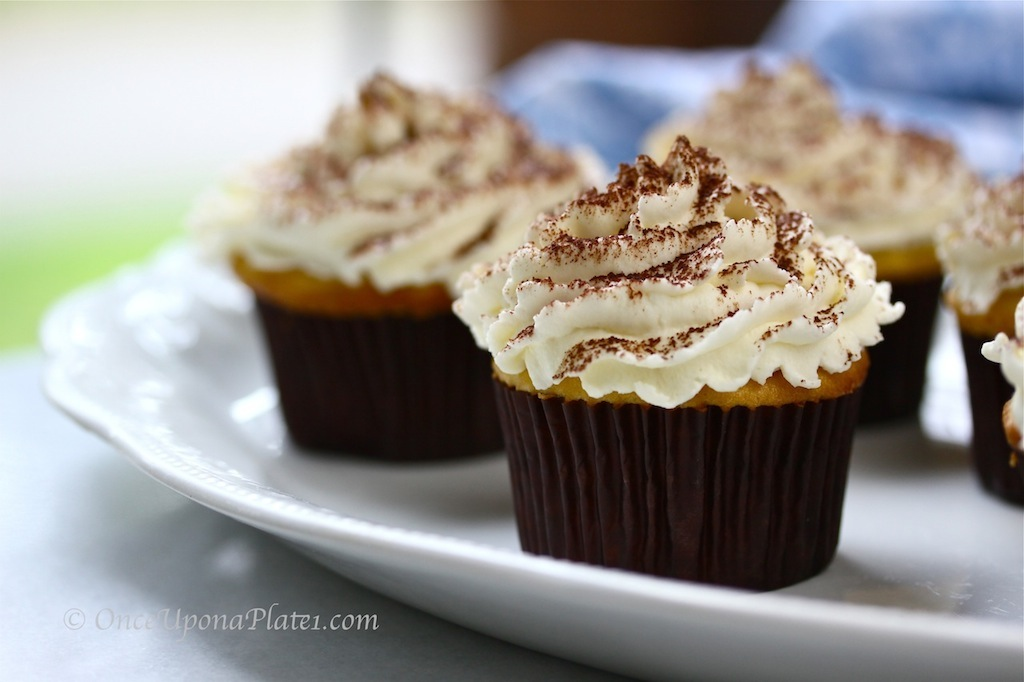 Once Upon a Plate: Tiramisu Cupcakes with Mascarpone Frosting