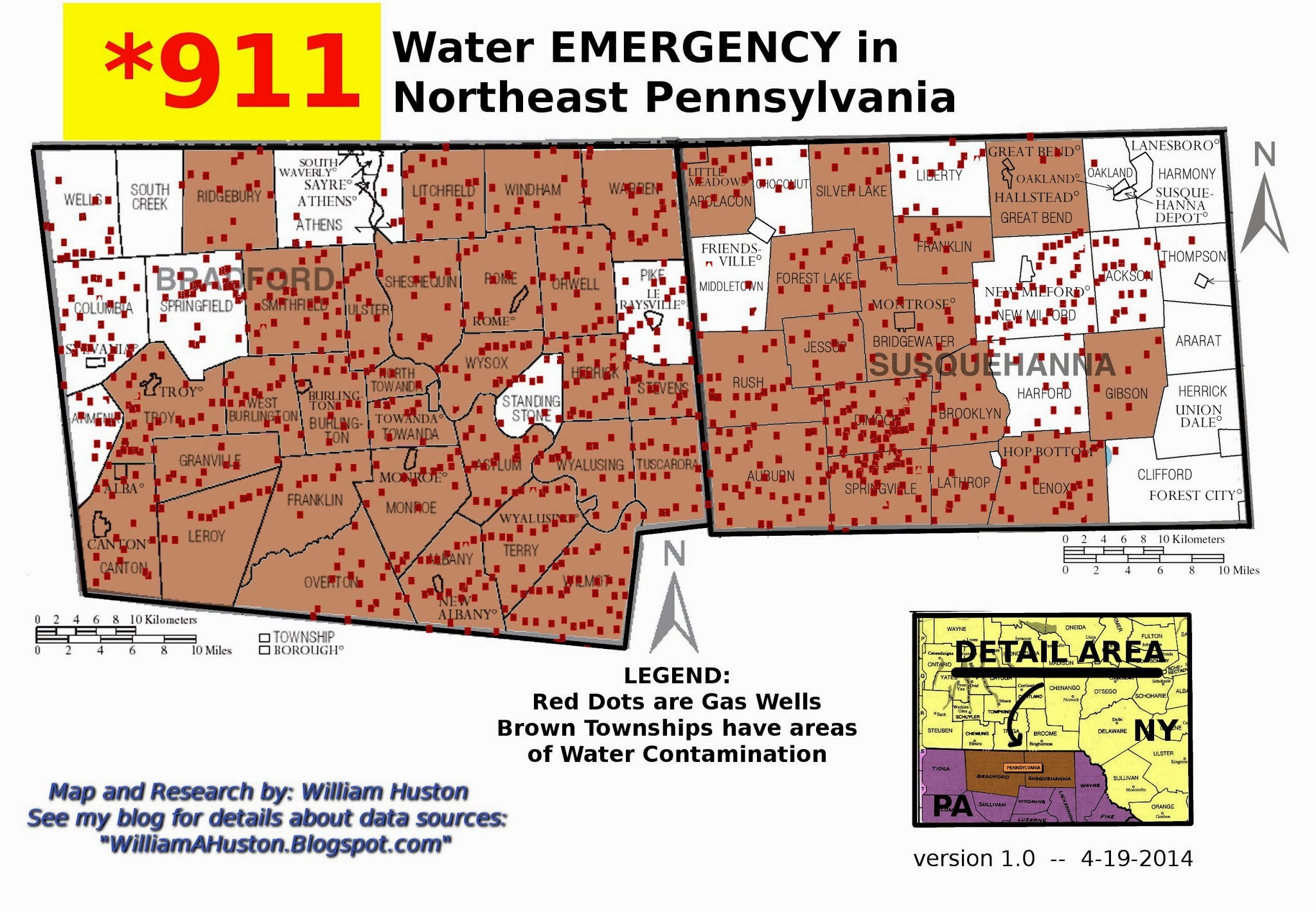 of water contamination from gas drilling and fracking this map represents 220 individual complaints all townships colored brown have