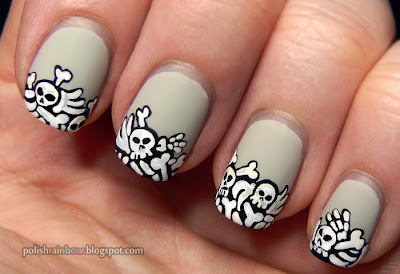 This Is Halloween Nail Art Challenge 2012. Graveyard pile of bones nails. OPI Skull & Glossbones.