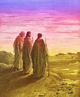 Jesus and two Disciples going to Emmaus