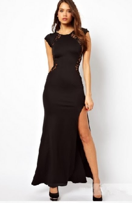 modelo de vestido preto básico com fenda