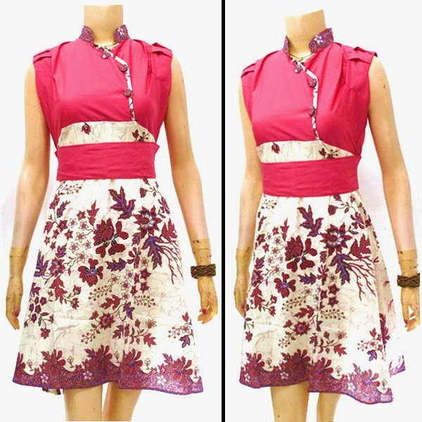 Dress Batik warna merah muda