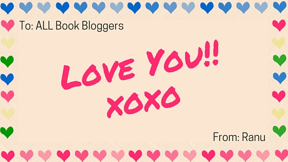 i love you book bloggers small heart border card