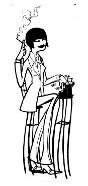 A imagem é uma caricatura da primeira repórter brasileira Eugênia Brandão, sentada num banquinho datilografando numa máquina de escrever antiga, fumando um cigarro e com cabelos curtos tipo chanel.