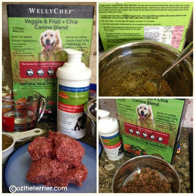 How to mix up WellyChef Veggie & Fruit + Chia Blend for dogs