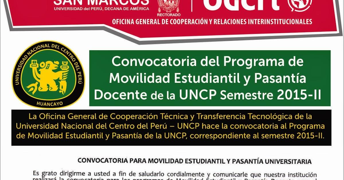 Ogcri unmsm convocatoria para movilidad estudiantil y for Convocatoria para docentes 2016