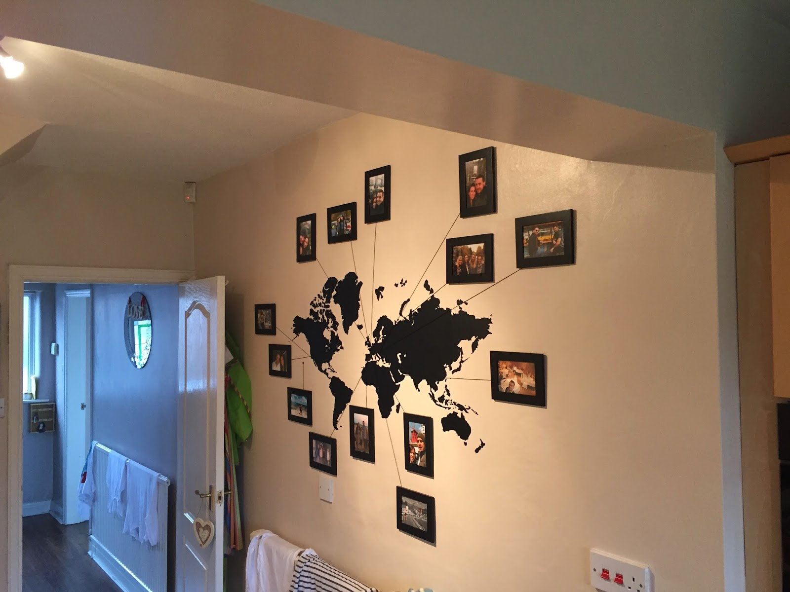 We Bought A World Map Wall Sticker And Framed A Picture From Every Holiday We Have Been On Since We Met Obviously It Is A Work In Process And Hopefully We